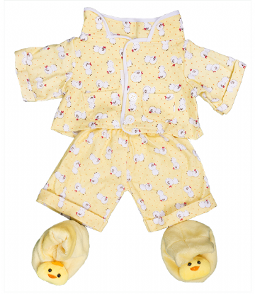 Soft Yellow 'Chicken' Pyjamas with slippers - 8""
